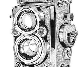 Pen Illustration A3 Print: Rolleiflex Vintage Camera