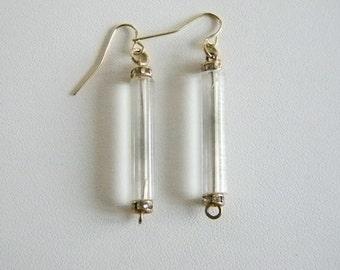 Clear Long Cylinder Dangle Pierced Earrings