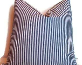 Blue Ticking Pillow, Farmhouse Decorative Pillow Cover Navy Cream Ticking Stripe Farmhouse Cottage Pillow 0