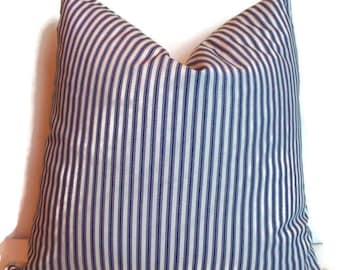 Blue Ticking Pillow Cover Farmhouse Decorative Pillow, Cover Navy Cream Ticking Stripe Farmhouse Cottage Pillow