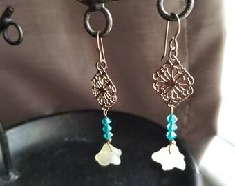 White Glass Flower Drop earrings