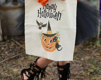 Trick or Treat Bag - Halloween Tote - Halloween Bag - Trick or Treat Tote - Halloween Candy Bag - Halloween Treat Bag -Halloween Pumpkin Bag