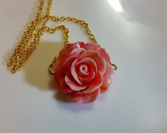 Pink Carved Rose Shell Necklace