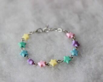 Rainbow Pastel Stars Bracelet