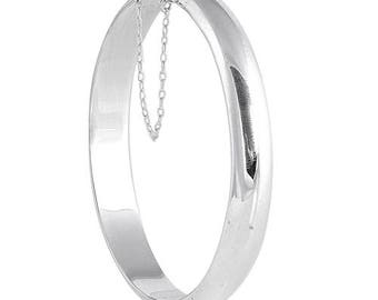 925 Sterling Silver Hinged Bangle Bracelet w/Safety Chain - 9 X 60 X 60 mm