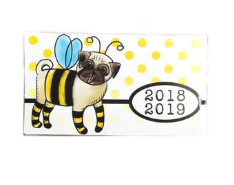 2018 - 2019 mini Planner - Bumblepug - bee pug dog pocket planner - two year planner - 2 year monthly planner horizontal - Dog lover gift