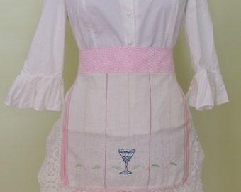 Upcycled apron, Shabby chic apron, cottage chic apron, romantic apron, half apron hostess apron