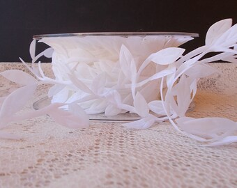 Leaf Ribbon, White, Scrapbooking, Card Making, Mixed Media, Altered Item, Mini Album. Sold by the Yard