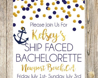 Nautical Bachelorette Invitation, Navy and Gold, Glitter Bachelorette Shower Invitation, Glam, Tying the Knot, Bachelorette Party,Ship Faced