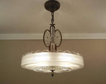 """Vintage Art Deco Chandelier early 1940's IMPERIALITES Glass & Solid BRONZE Ceiling Light Fixture 5 Sockets Large 16.5"""" Rewired"""