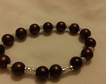 Brown & Silver Stretch Bracelet