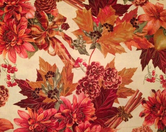 Autumn harvest Thanksgiving fabric by the yard - autumn fabric by the yard - Thanksgiving fabric - leaf fabric - leaves fabric - #15114