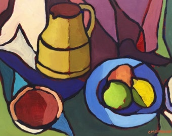 Abstract Still lIfe Oil Painting Fruit Pitcher and Bowl