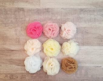 """2"""" Tulle Mesh Flower, Ballerina flower, fabric flower, Tulle flower, DIY supplies, Headband flower, Flower Hair Clip, Flower Puff, mesh"""