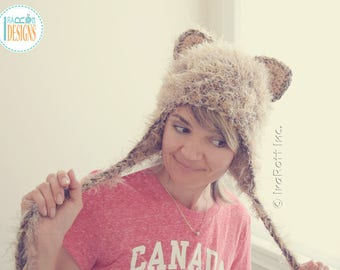 Soft Furry Kitty Cat Hat With Earflaps READY to SHIP for Teen-Adult Size