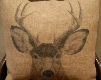Deer Burlap Pillow, Shabby Chic, Lodge, Cabin, Farmhouse Pillows, Wild12,  INSERT INCLUDED