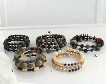 Lava Stone Bracelets for Essential Oils, Beaded Memory Wire Bracelets