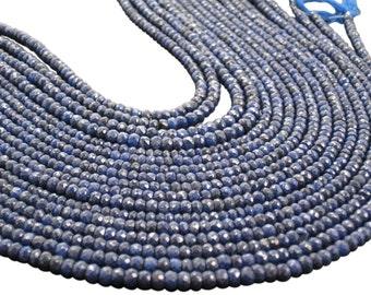 AAA Blue Sapphire Beads, Natural Sapphire Beads, Blue Sapphire Rondelles, AAA Sapphire, SKU 3624