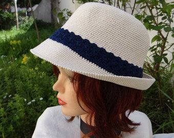 summer Hat women, handmade, crocheted in unbleached cotton and Navy Blue, malleable and washable