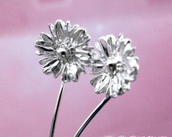 Long stem Gerbera daisy earrings, sterling silver flower stud dangle earrings, Unique gift for her