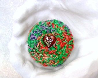 Garden Heart Basket - Vegan Silk Tapestry Basket w/ Glass Button Embellished Lid - Valentine's Day, Mother's Day, Wedding Anniversary Gift