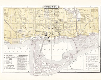 1903 City Map Toronto Ontario Canada - Vintage Antique Map Great for Framing 100 Years Old