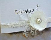 Christening Headband Baby Girl Flower Lace Soft Elastic Hair Band Ivory Christening Wedding Flower Girl Headpiece -Madeleine