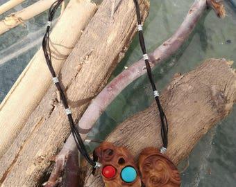 Unique wooden pendant, Bohemian wood necklace, Wooden pendant necklace, Tree branch necklace,Fashion wood necklace,Natural Branch necklace