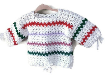 Vintage Baby Sweater, Handmade Vintage Knitted Baby Knit Sweater Infant 6m 12m Baby Unisex Vintage Knit Open Weave Striped Sweater Tying Hem
