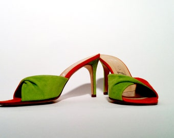 Green and Orange Suede Mules by Gina Shoes