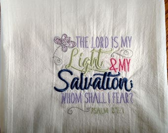 Scripture embroidery on flour sack dish towel, tea towel, Bible verse, kitchen towel, Psalms, machine embroidery, Christian gift