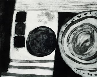 Abstract Etching Print- Fine Art Print - Black & White Print - 'Interior 2' - Original Hand Pulled Print -  Etching on Somerset Paper