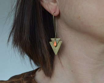 Earrings sleepers long triangles and small Teardrop Tangerine - color brass bronze