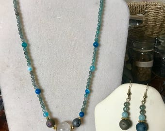 Blue Green Apatite and Gemstone Necklace and Earrings Set