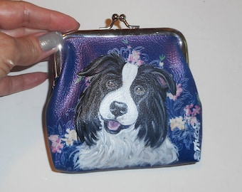 Border Collie Dog Hand Painted Coin Purse Mini wallet vegan