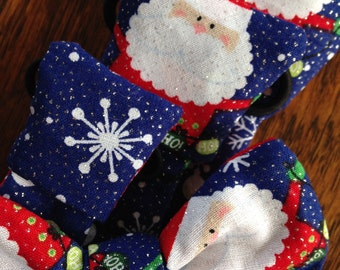 christmas santa claus glitter pet dog collar necktie or bow bow tie slide on removable handmade accessory multiple sizes made to order