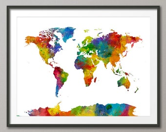 Watercolor world map etsy watercolor map of the world map art print 2021 gumiabroncs Gallery