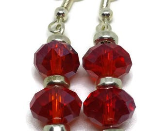 Red and Silver Handcrafted Dangle Earrings