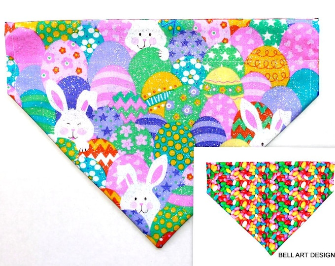 EASTER ~ Over the Collar ~ Reversible ~ Dog Pet Bandana ~ Bell Art Designs ~ Large ~ DCL0661