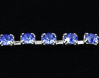 1 Foot Swarovski Rhinestone Cup Chain 19ss Sapphire/Silver