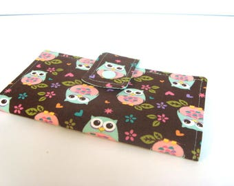 Fabric Checkbook Cover, Checkbook Holder Cash Holder - Brown and Mint Owls