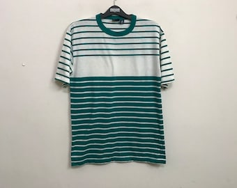 RARE 80s Vintage Mervyn's Men's Collection Border Striped tee shirt Large Skate Powell Santa Cruz Surfing Surfer Rockabilly Grunge