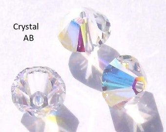 Swarovski crystal beads Bicone 5328 Crystal Beads CLEAR CRYSTAL AB -- Available in 3mm, 4mm, 5mm, 6mm and 8mm
