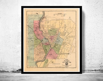 Old Map of Rochester  United States 1882