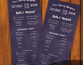 Purple Chalkboard Wedding Program / Chalkboard Program / Order of Wedding / chalkboard / purple / chalk / Wedding / Program
