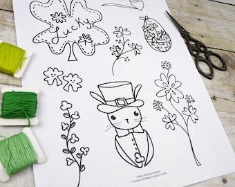 St. Patrick's day Stitchery PDF Pattern - embroidery sheet easy simple  irish