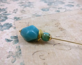Teal Gold Plated Hatpin Hijab Pin Gold Plated Stick Pin