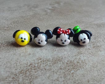 Mickey Mouse, Minnie Mouse, Goofy, and Pluto Tsum Tsum Inspired Earrings