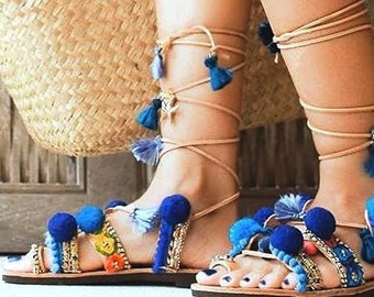 Handmade Sandals 'Blue Sapphire', Pom Pom Sandals, Leather Sandals, Women's Tie up Gladiator Sandals, Boho Sandals