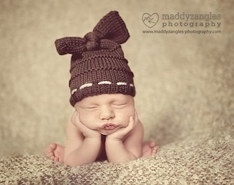 Baby hat hand knit newborn hat big bow knot in chocolate espresso coffee dark brown or choose color photography photo prop girl
